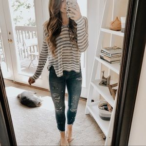 Loft Gray & White Knit Pullover Hoodie